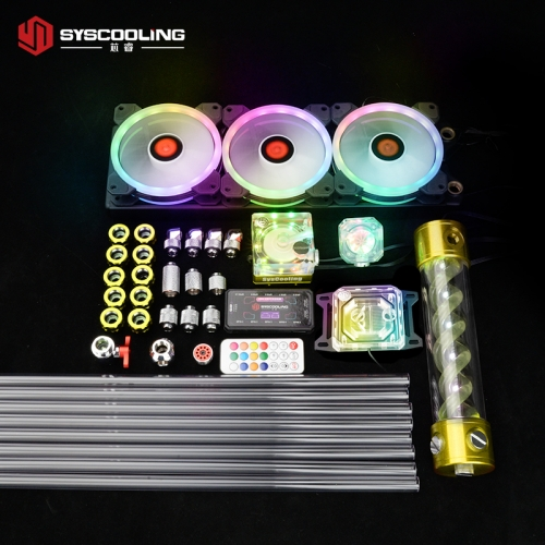 Syscooling PC water cooling kit for AMD CPU PETG tube liquid cooling system RGB support